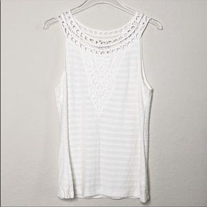 Postmark Ribbed Tank with Crochet Detail